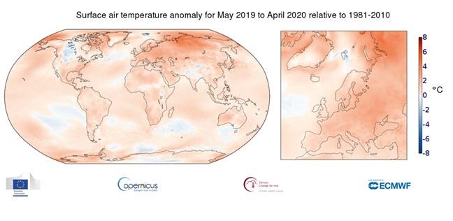anomalie temperature magio 2019 aprile 2020