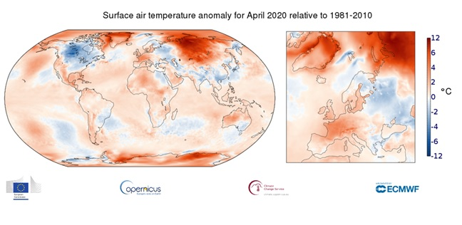anomalie della temperatura relativa all'aria superficiale di aprile 2020 rispetto al periodo 1981-2010