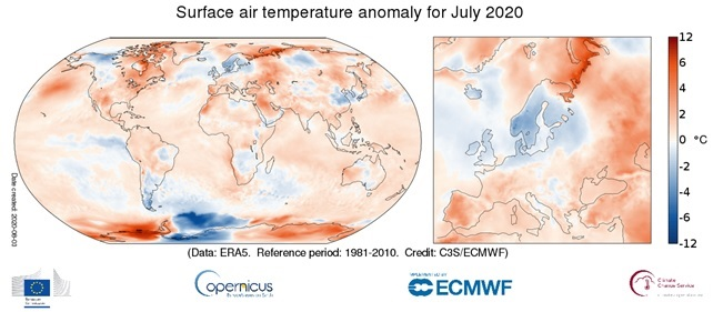 temperature analizzate da Copernicus