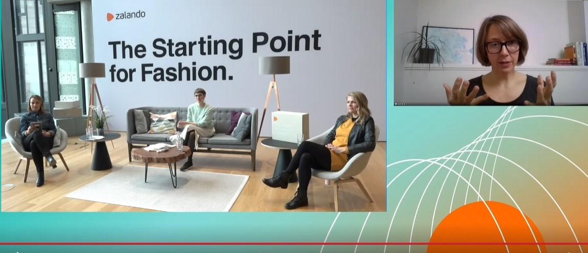 Nel riquadro a destra Kate Heiny, director Sustainability di Zalando. Sedute in senso orario Susann Remke, Director of Media Relations di Zalando, Ina Budde, Co-founder and Managing Director di circular.fashion, Jade Buddenberg, Lead Circularity and Sustainability Recommerce di Zalando
