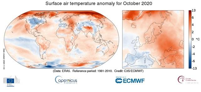 copernics variazioni di temperature europee