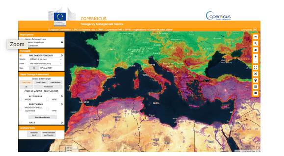 """Previsioni di pericolo d'incendio GEFF inizializzate il 31 luglio 2021, che evidenziano """"molto estremo"""" (sfumatura viola) intorno al Mediterraneo per il 7 agosto. Credits: EFFIS"""