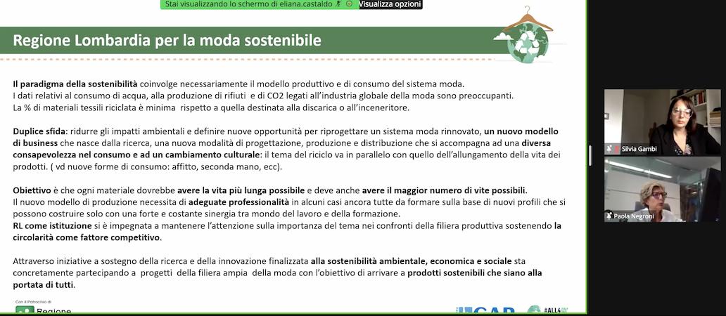 Regione Lombardia moda sostenibile